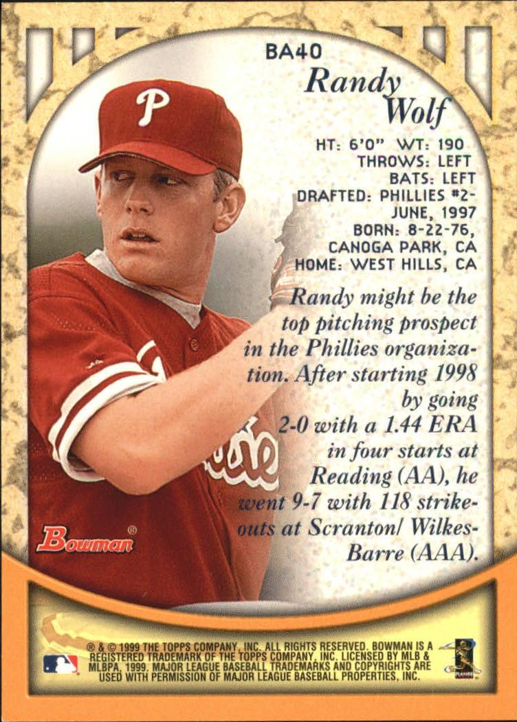 1999 Bowman Autographs #BA40 Randy Wolf B back image