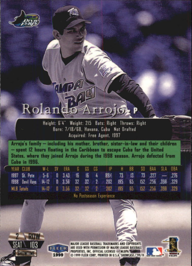 1999 Flair Showcase Row 2 #103 Rolando Arrojo back image