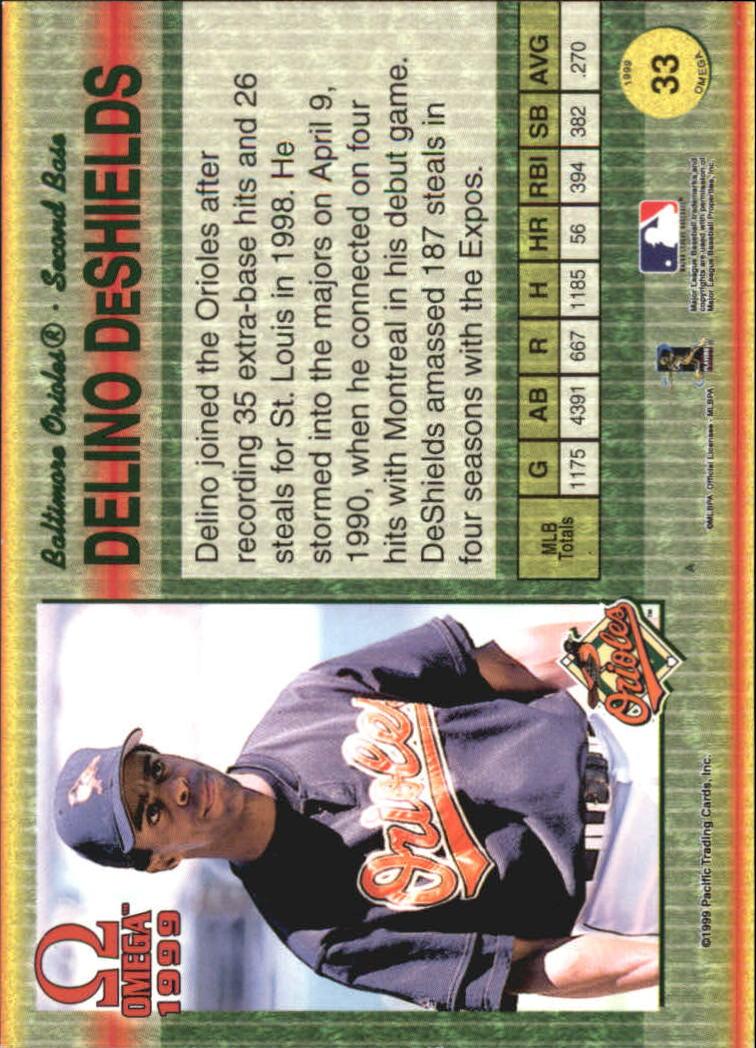 1999 Pacific Omega #33 Delino DeShields back image