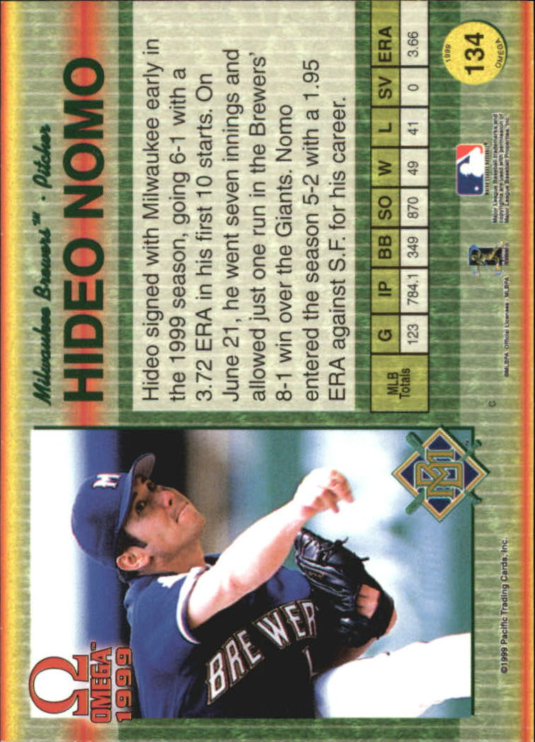1999 Pacific Omega #134 Hideo Nomo back image