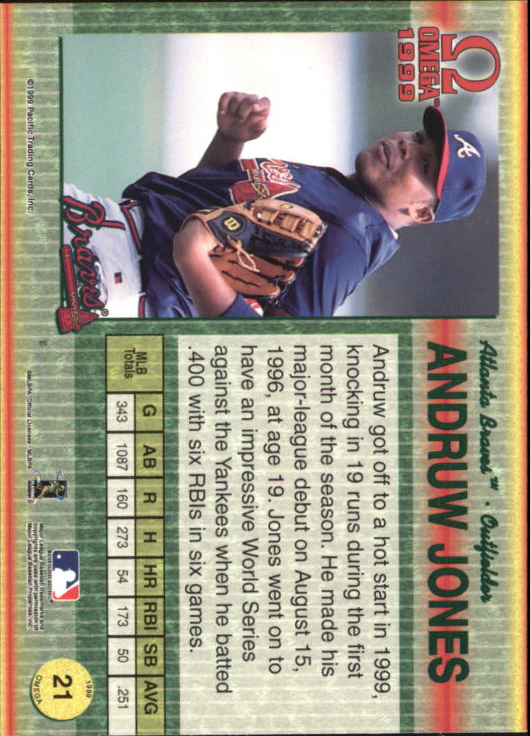 1999 Pacific Omega Gold #21 Andruw Jones back image