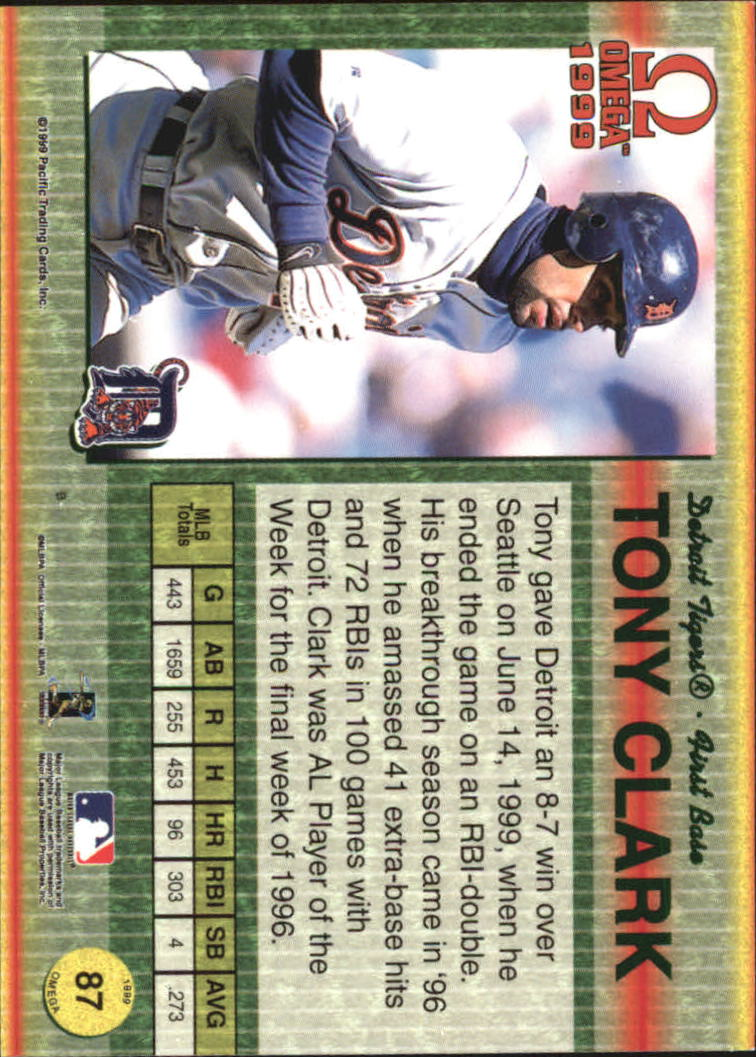 1999 Pacific Omega Gold #87 Tony Clark back image