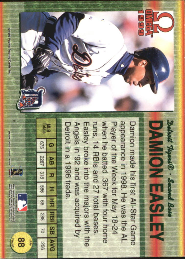 1999 Pacific Omega Gold #88 Damion Easley back image