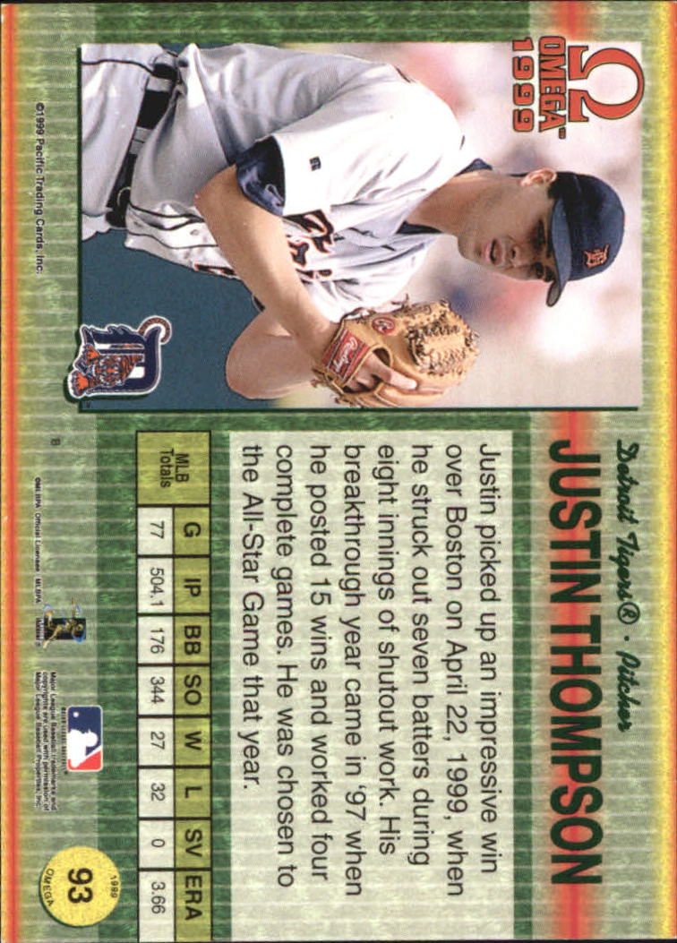 1999 Pacific Omega Gold #93 Justin Thompson back image