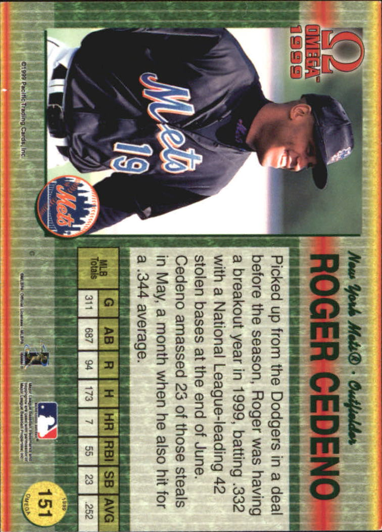 1999 Pacific Omega Gold #151 Roger Cedeno back image