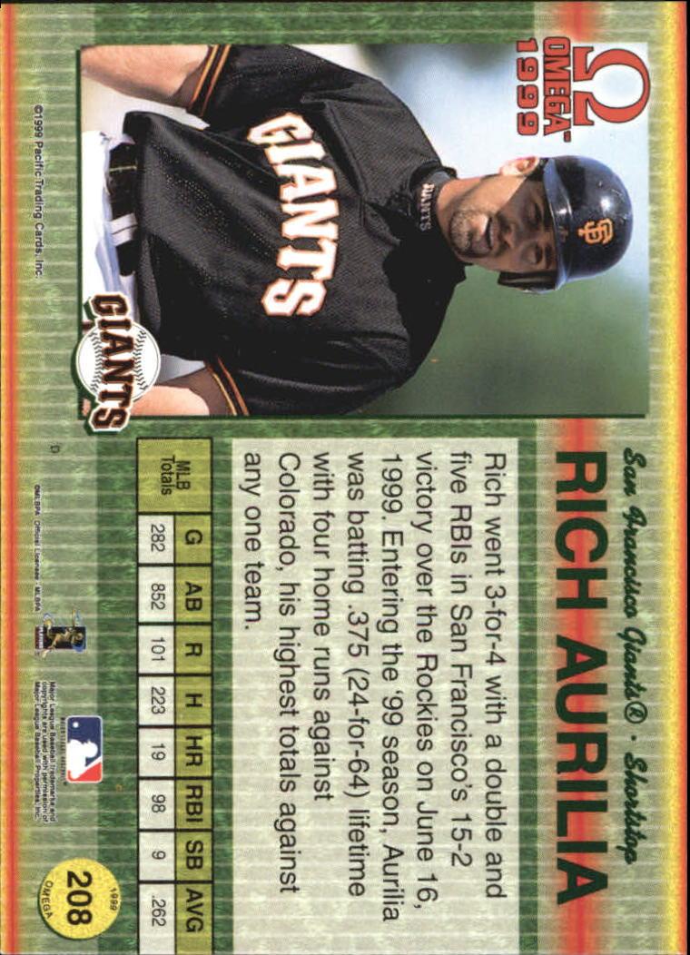 1999 Pacific Omega Gold #208 Rich Aurilia back image
