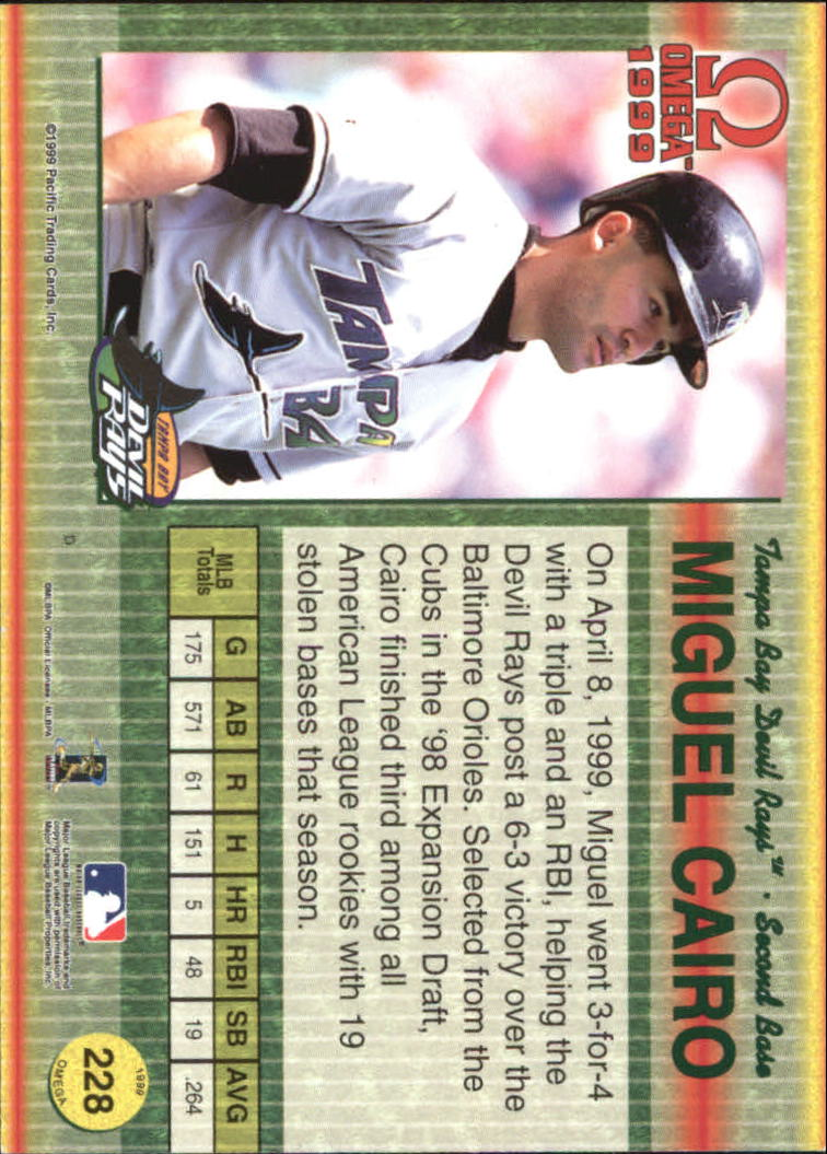 1999 Pacific Omega Gold #228 Miguel Cairo back image