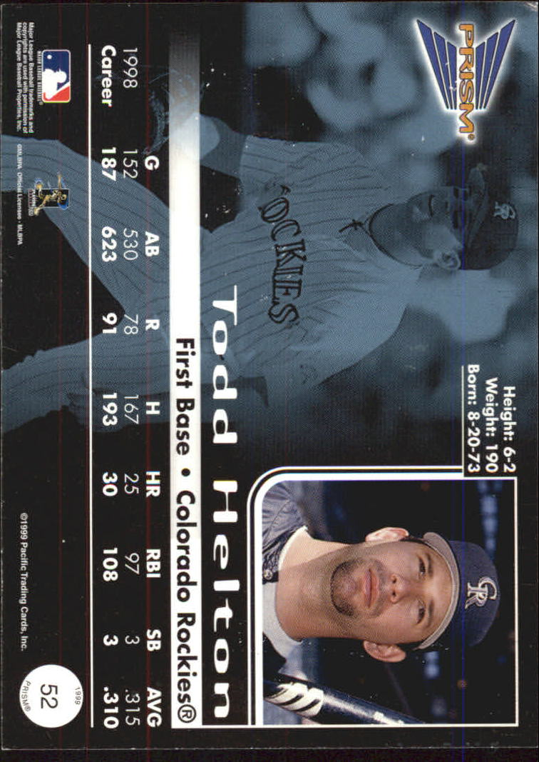 1999 Pacific Prism #52 Todd Helton back image