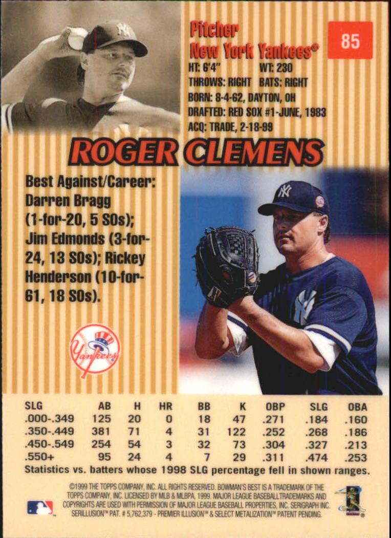 1999 Bowman's Best #85 Roger Clemens back image