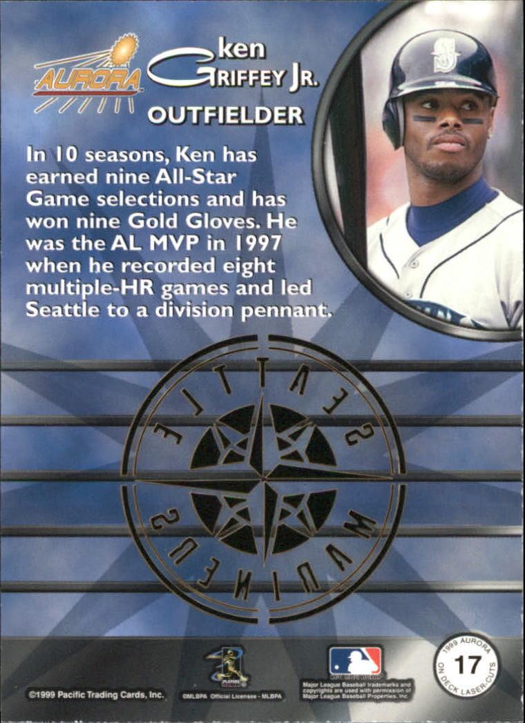 1999 Aurora On Deck Laser-Cuts #17 Ken Griffey Jr. back image