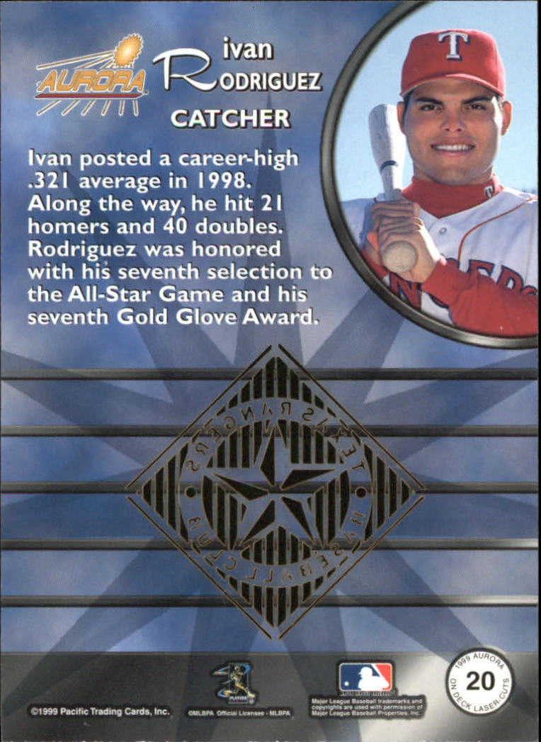 1999 Aurora On Deck Laser-Cuts #20 Ivan Rodriguez back image