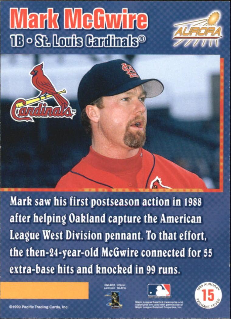 1999 Aurora Pennant Fever #15 Mark McGwire back image