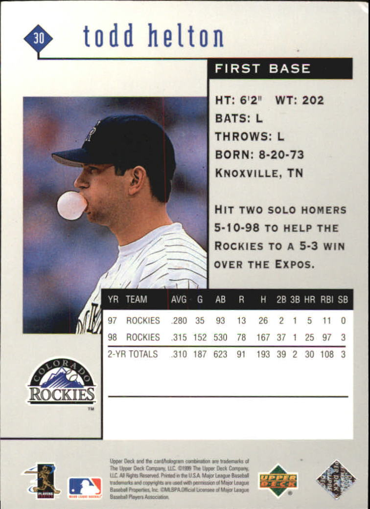 1999 Black Diamond #30 Todd Helton back image