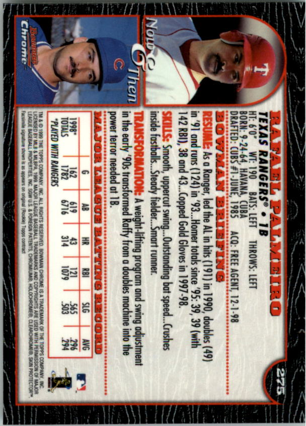 1999 Bowman Chrome #275 Rafael Palmeiro back image