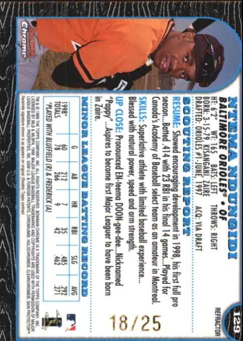 1999 Bowman Chrome Gold Refractors #129 Ntema Ndungidi back image