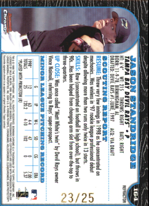 1999 Bowman Chrome Gold Refractors #164 Jason Standridge back image
