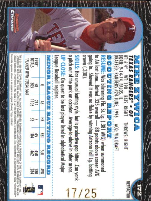 1999 Bowman Chrome Gold Refractors #172 Mike Zywica back image