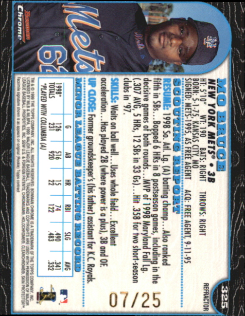 1999 Bowman Chrome Gold Refractors #325 Mo Bruce back image