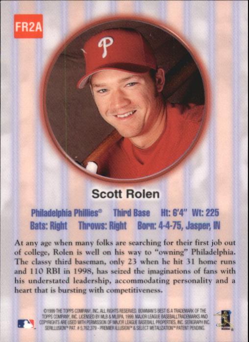 1999 Bowman's Best Franchise Favorites Autographs #FR2A Scott Rolen back image