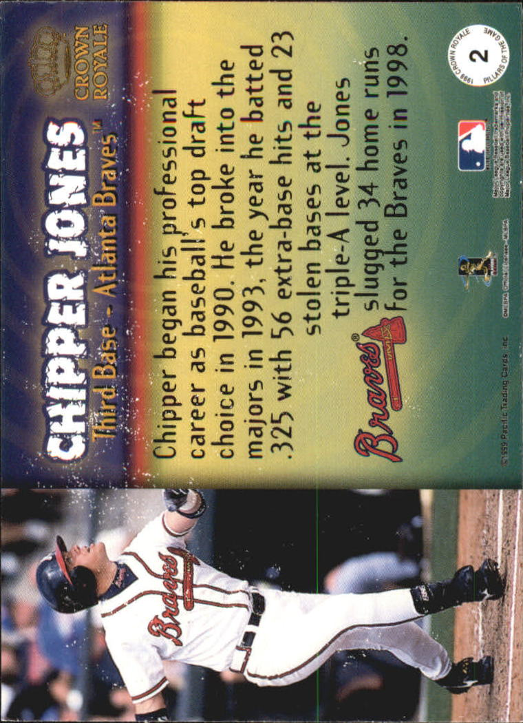 1999 Crown Royale Pillars of the Game #2 Chipper Jones back image