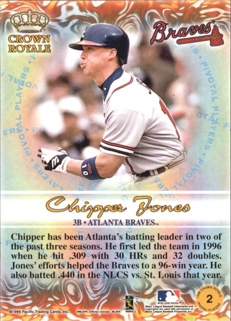 1999 Crown Royale Pivotal Players #2 Chipper Jones back image