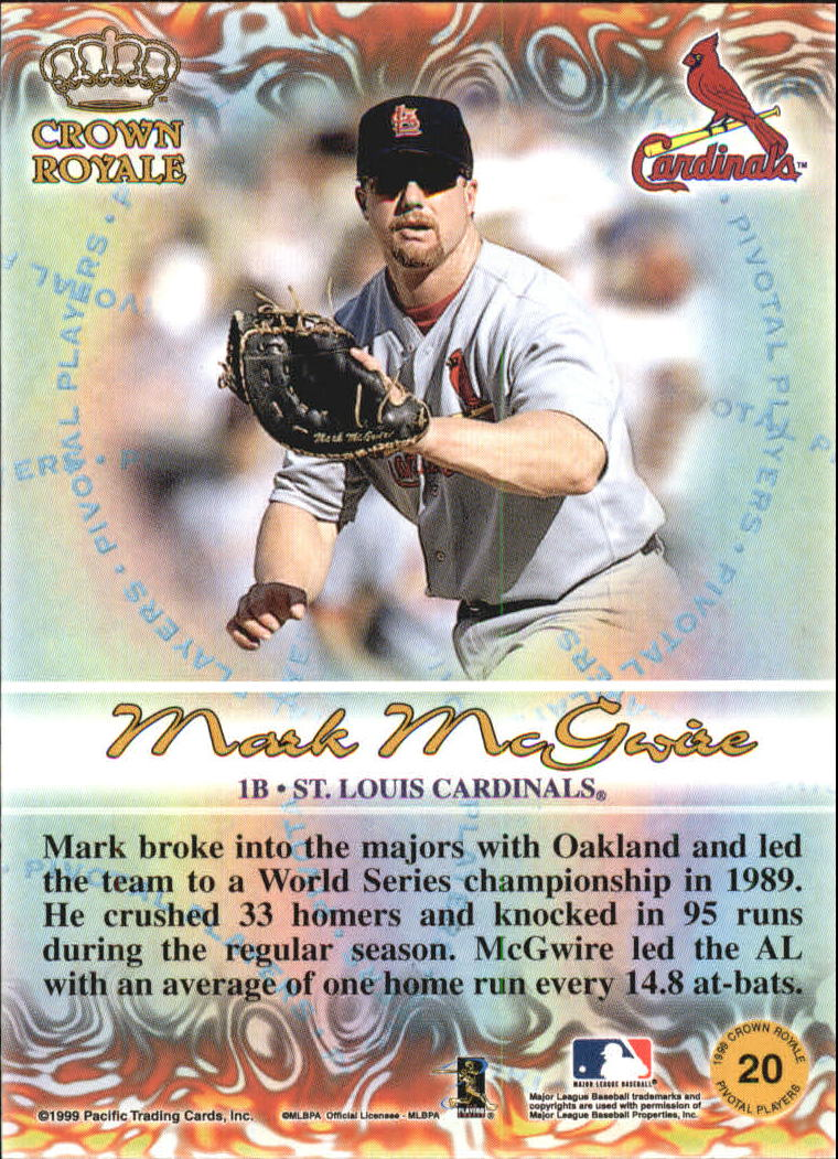 1999 Crown Royale Pivotal Players #20 Mark McGwire back image