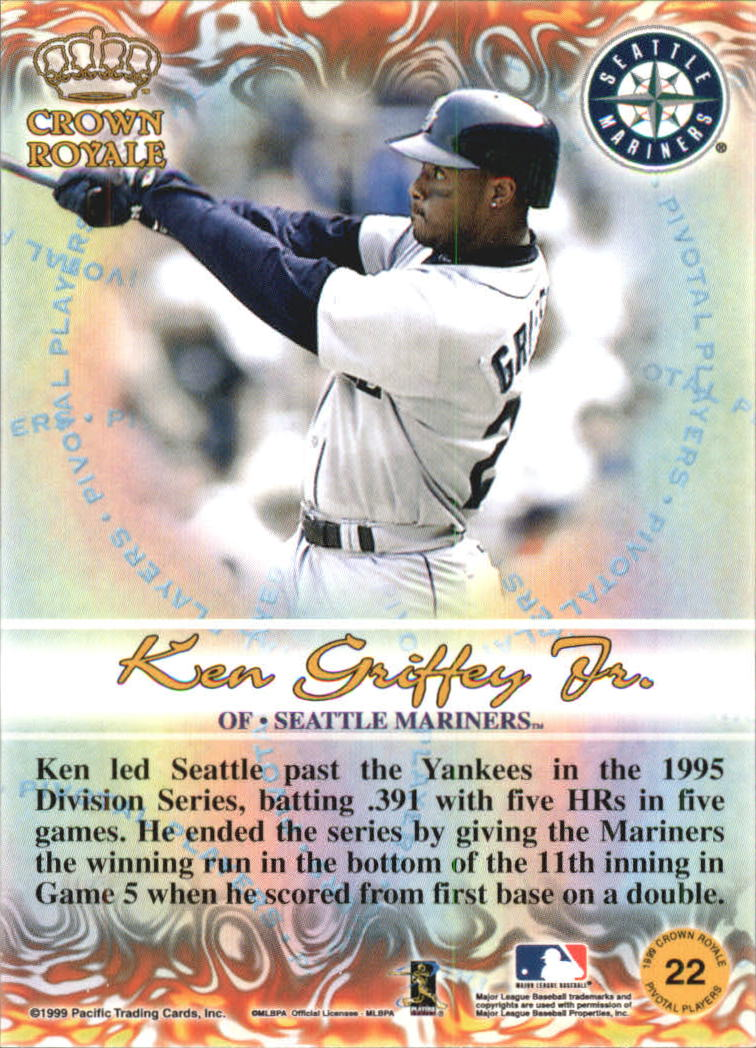 1999 Crown Royale Pivotal Players #22 Ken Griffey Jr. back image