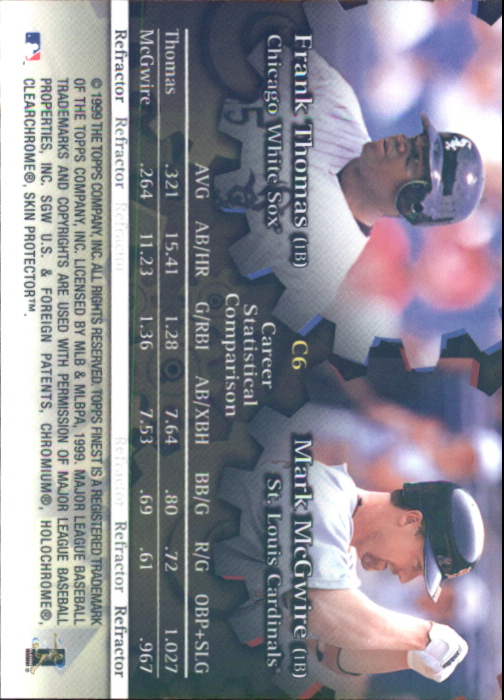 1999 Finest Complements Dual Refractors #C6 Mark McGwire/Frank Thomas back image