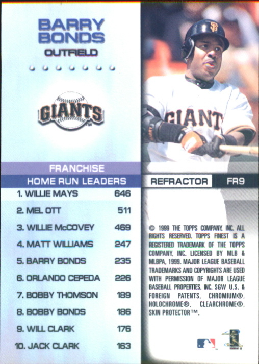 1999 Finest Franchise Records Refractors #FR9 Barry Bonds back image