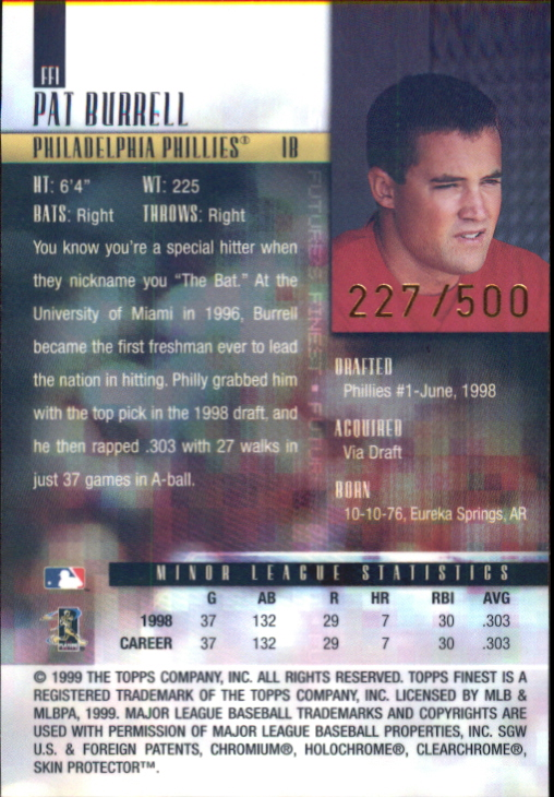 1999 Finest Future's Finest #FF1 Pat Burrell back image