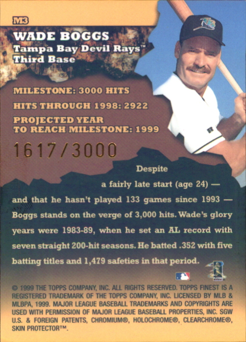 1999 Finest Milestones #M3 Wade Boggs HIT back image