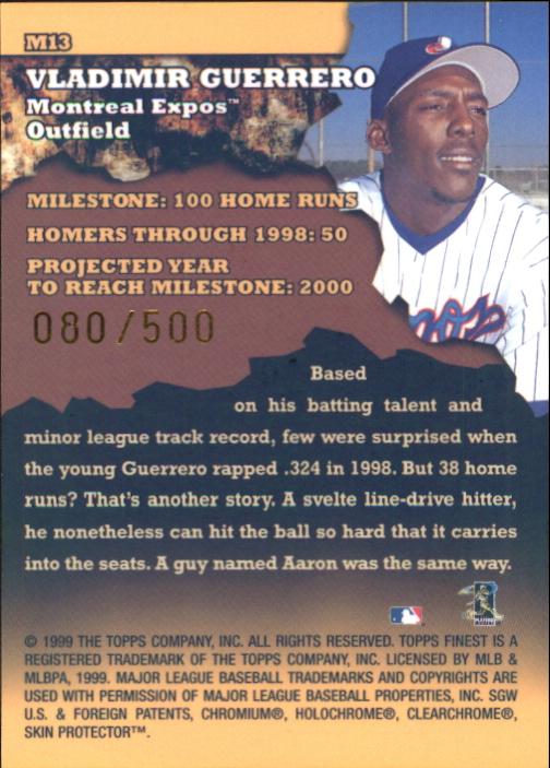 1999 Finest Milestones #M13 Vladimir Guerrero HR back image
