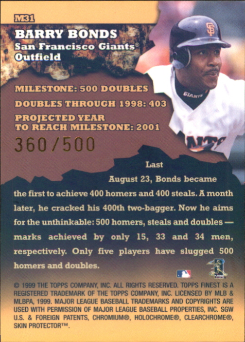 1999 Finest Milestones #M31 Barry Bonds 2B back image