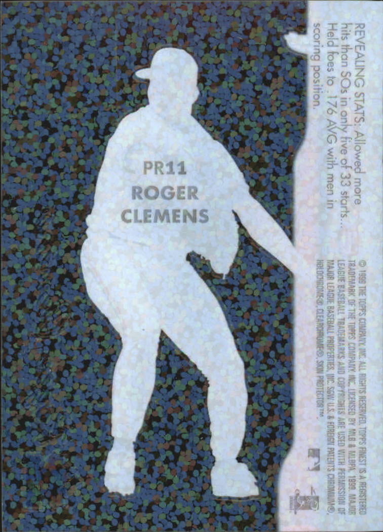 1999 Finest Peel and Reveal Sparkle #11 Roger Clemens back image
