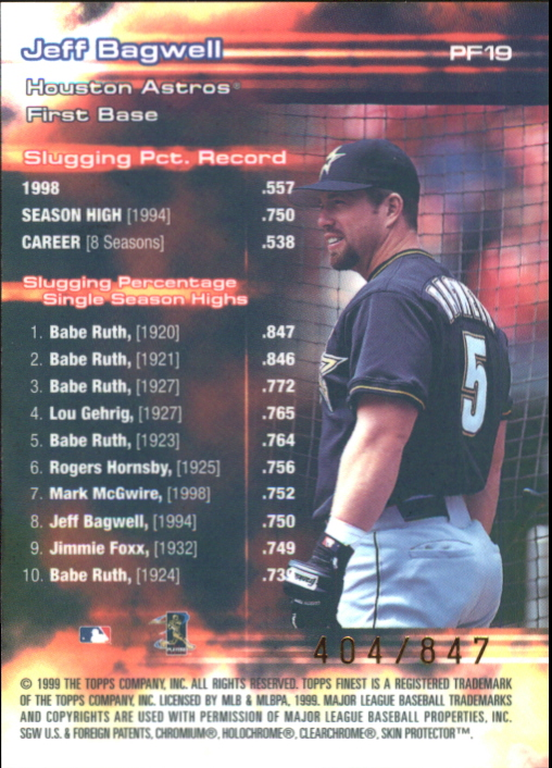 1999 Finest Prominent Figures #PF19 Jeff Bagwell SLG back image