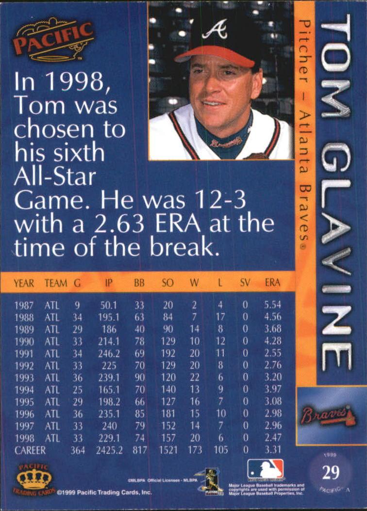 1999 Pacific #29 Tom Glavine back image