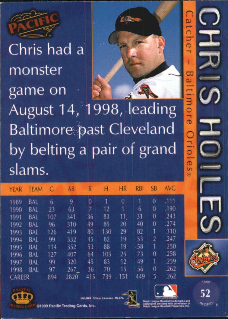 1999 Pacific #52 Chris Hoiles back image
