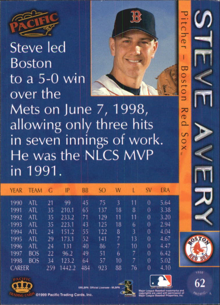 1999 Pacific #62 Steve Avery back image