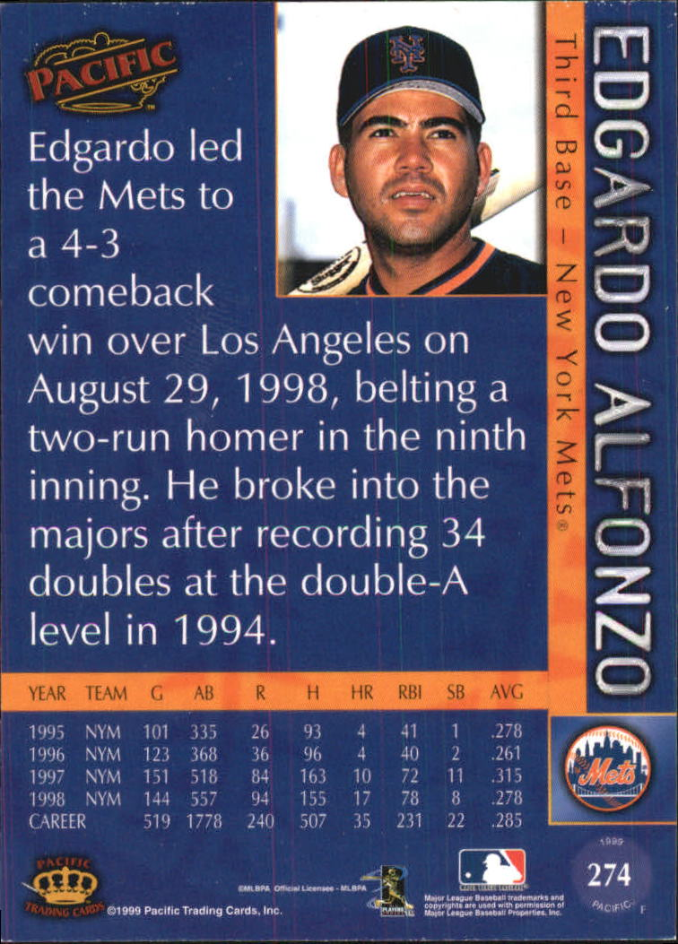 1999 Pacific #274 Edgardo Alfonzo back image