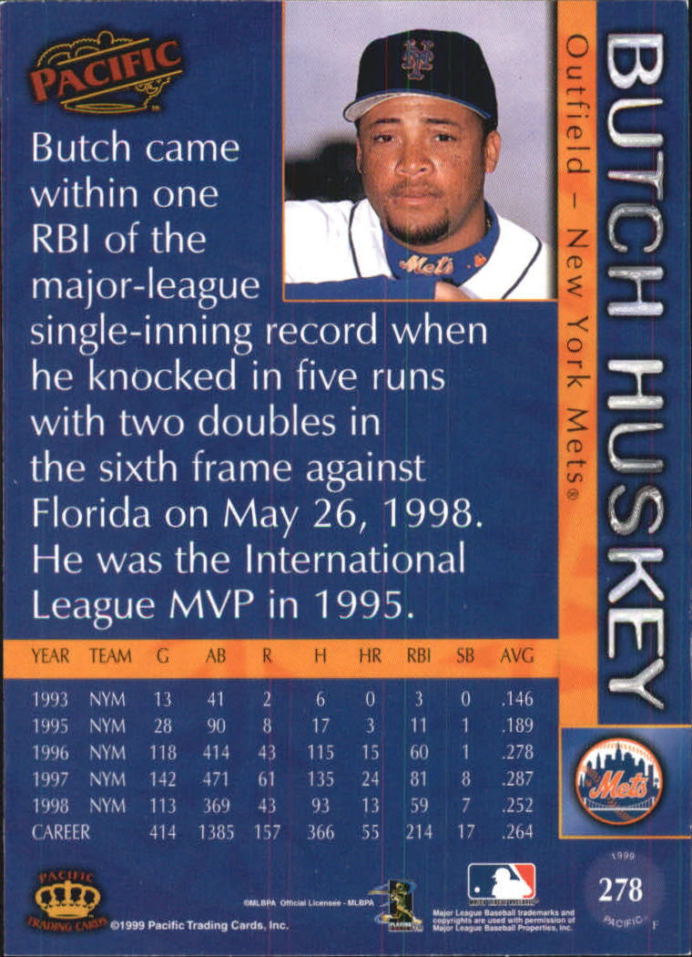 1999 Pacific #278 Butch Huskey back image