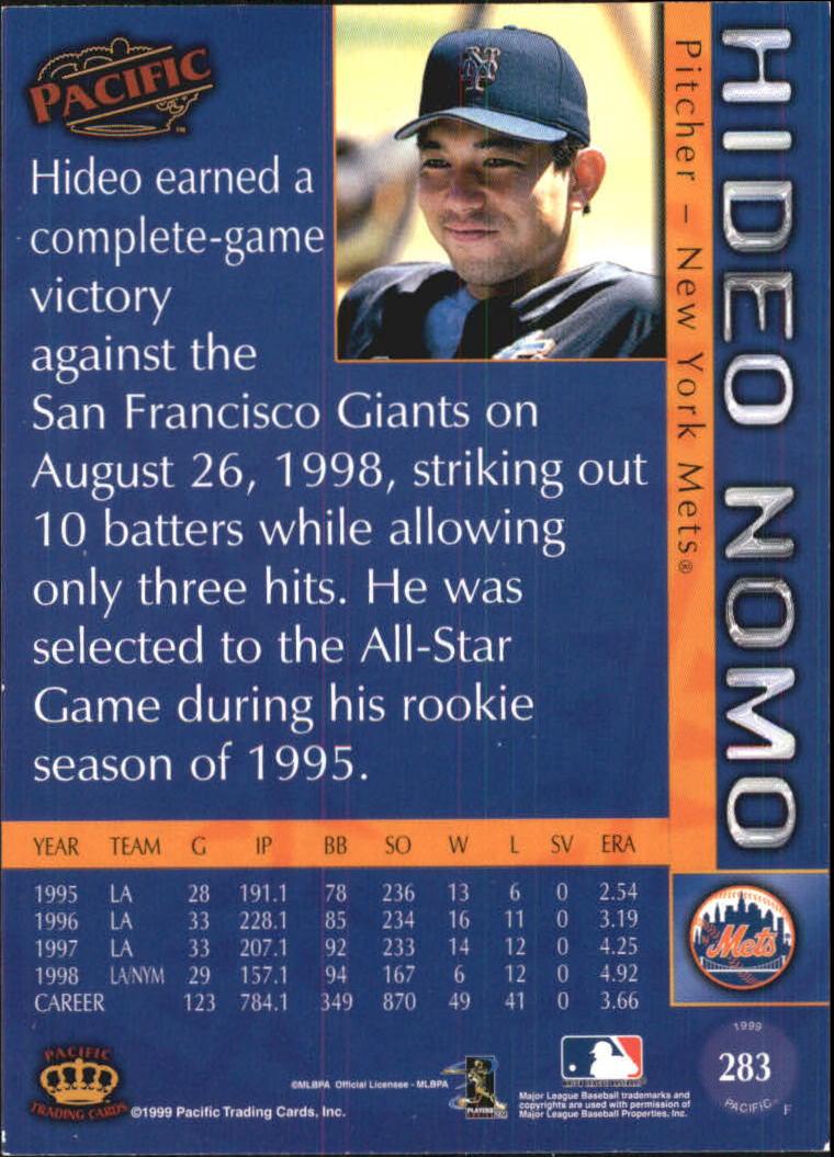 1999 Pacific #283 Hideo Nomo back image