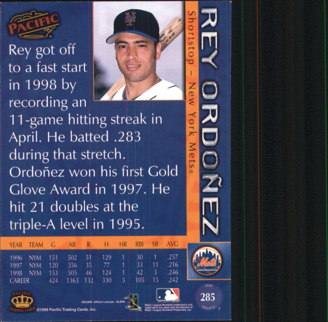 1999 Pacific #285 Rey Ordonez back image