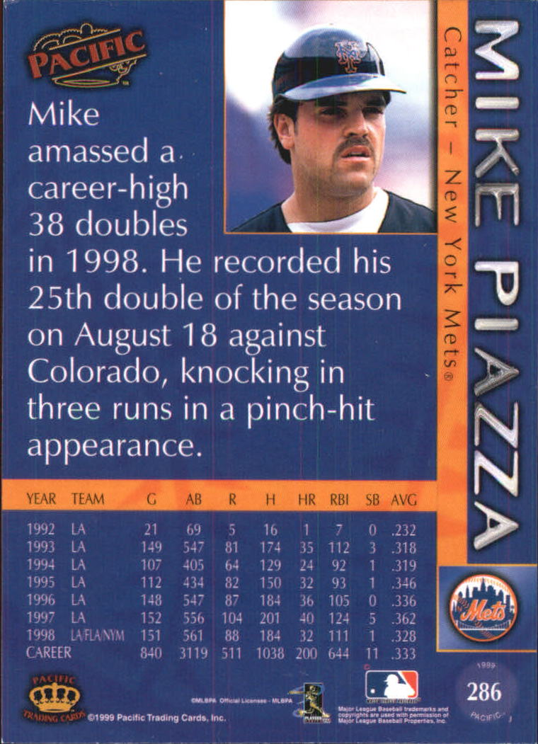 1999 Pacific #286 Mike Piazza * back image