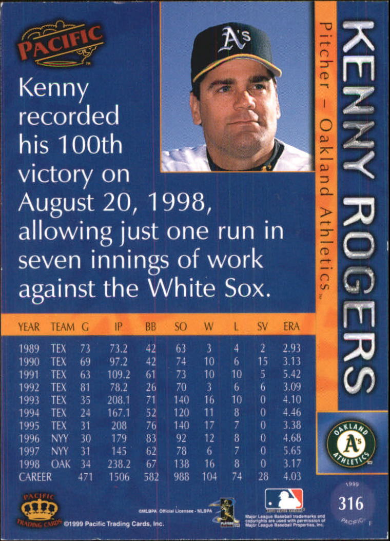 1999 Pacific #316 Kenny Rogers back image