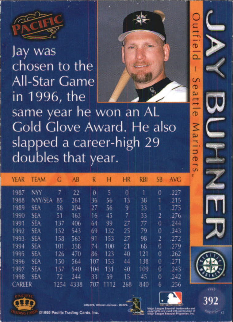 1999 Pacific #392 Jay Buhner back image