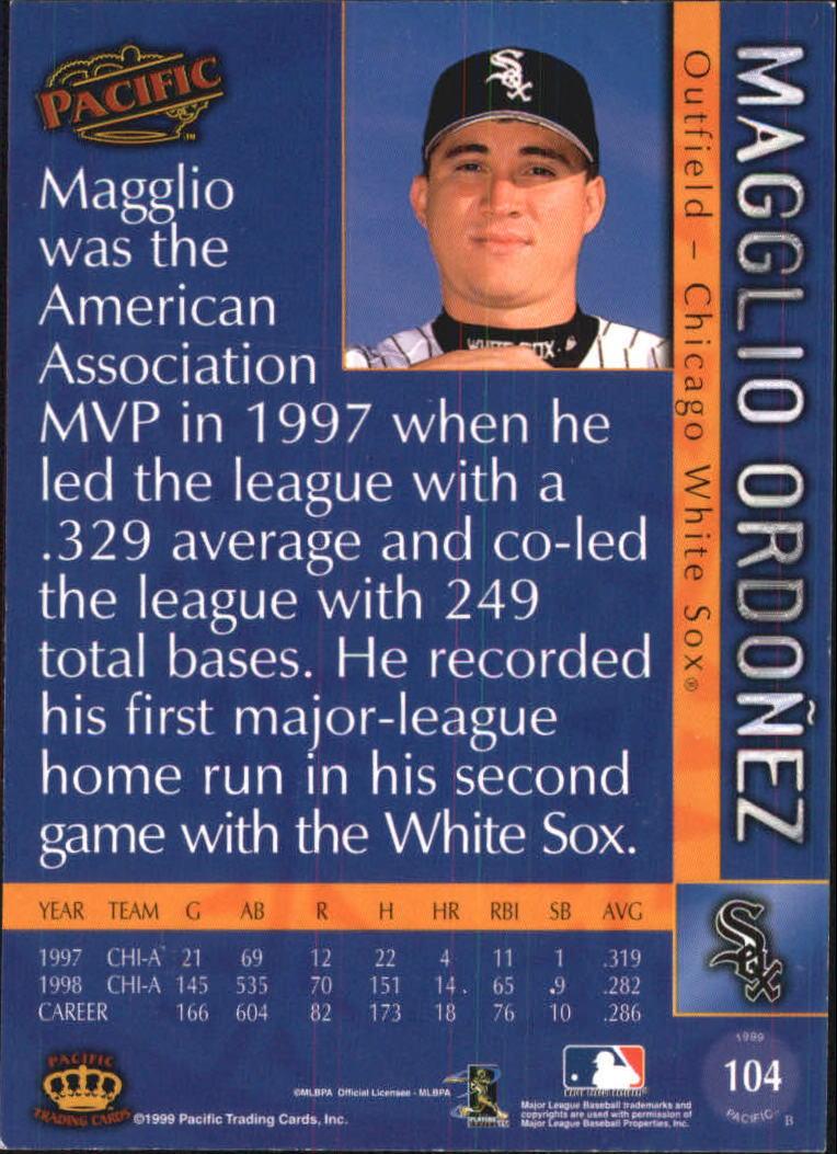 1999 Pacific Platinum Blue #104 Magglio Ordonez back image