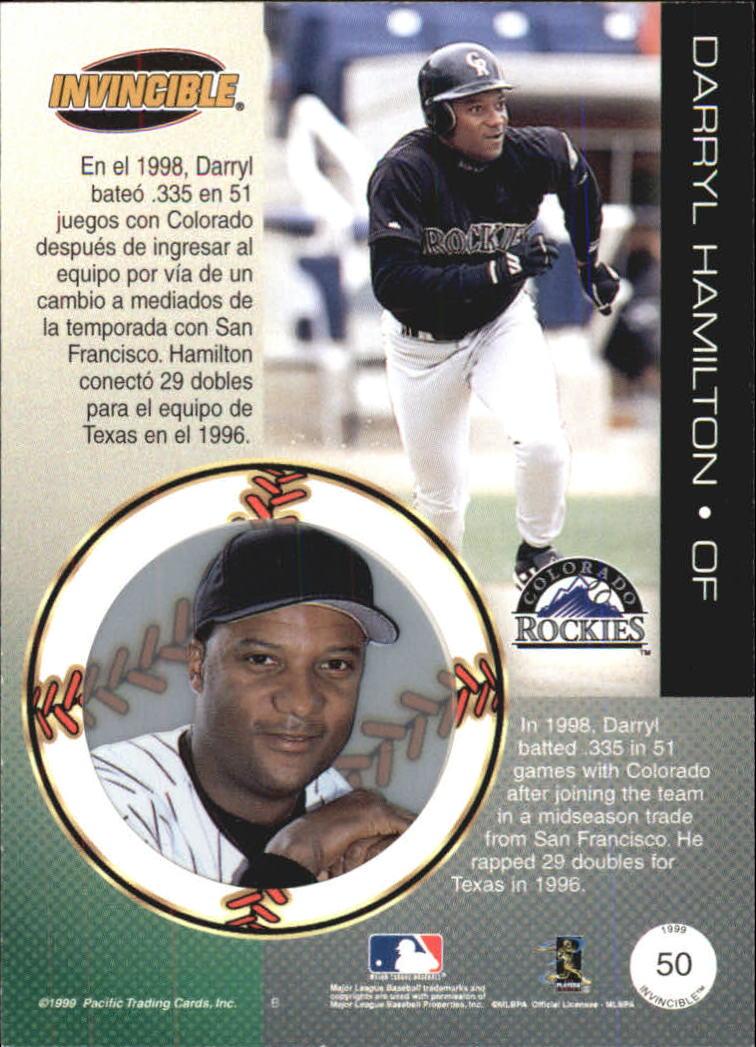 1999 Pacific Invincible #50 Darryl Hamilton back image