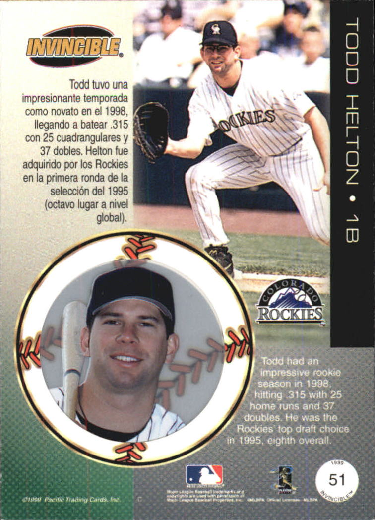 1999 Pacific Invincible #51 Todd Helton back image