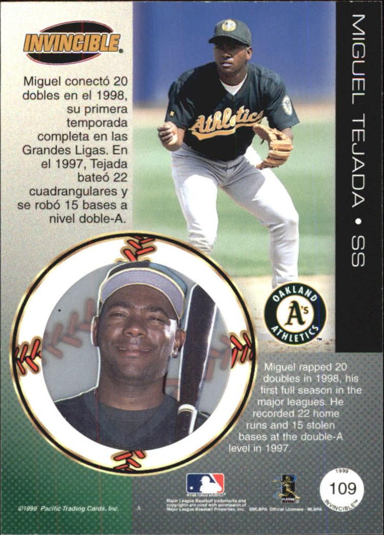 1999 Pacific Invincible #109 Miguel Tejada back image