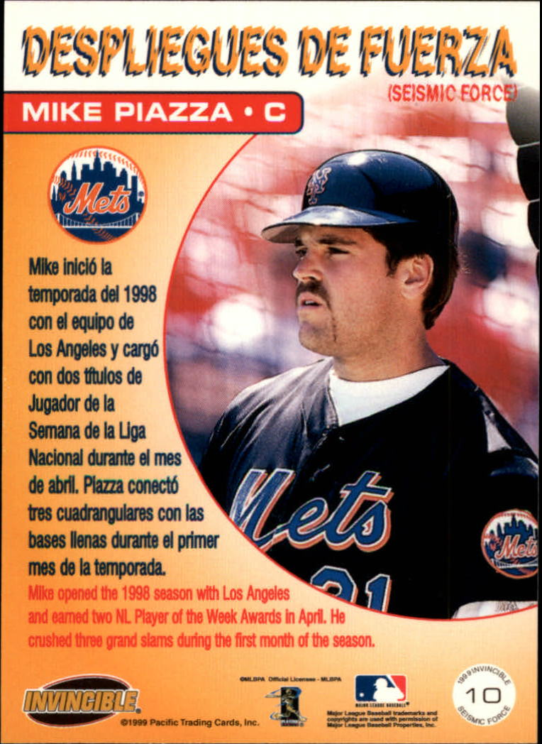 1999 Pacific Invincible Seismic Force #10B Mike Piazza/Batting back image
